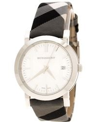 Burberry - Silver Stainless Steel Nova Check Bu1378 Women's Wristwatch 38 Mm - Lyst