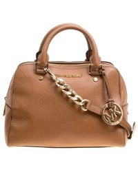fdfd4bfd2d MICHAEL Michael Kors - Michael Kors Leather Logo Fob Top Handle Bag - Lyst