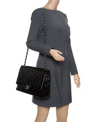 Chanel - Black Quilted Patent Leather Maxi Classic Double Flap Bag - Lyst