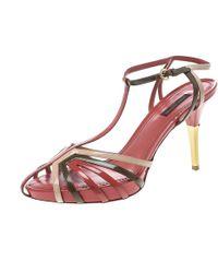 Louis Vuitton - Tri Colour Patent Leather T Strap Sandals - Lyst