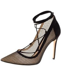 Gianvito Rossi - Suede And Mesh Lace Up Pointed Toe Pumps - Lyst