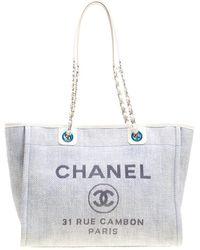 Chanel - Deauville Grey Leather Handbag - Lyst