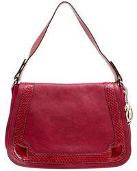 Cartier - Maroon Leather And Snakeskin Shoulder Bag - Lyst