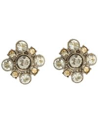 Chanel - Cc Floral Crystal Embellished Tone Stud Earrings - Lyst