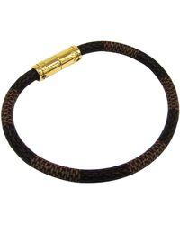 Louis Vuitton Keep It Damier Canvas Gold Tone Bracelet - Brown
