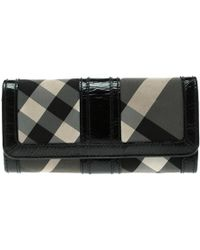 Burberry - Beat Check Nylon And Patent Leather Penrose Continental Wallet - Lyst