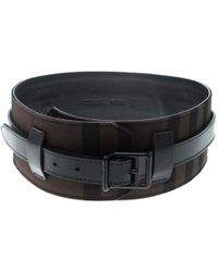 Burberry - /dark Brown Check Fabric Wide Belt 85cm - Lyst