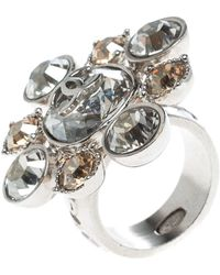 Chanel - Cc Crystal Tone Cocktail Ring - Lyst