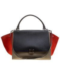 Céline - Tri Color Leather And Suede Medium Trapeze Bag - Lyst 051388e8443e2