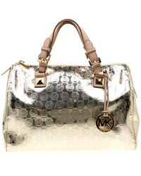 b89651f79072 MICHAEL Michael Kors - Gold Metallic Mirror Signature Pvc Large Grayson  Satchel - Lyst