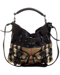 Burberry - House Check Fabric And Leather Front Pocket Hobo - Lyst