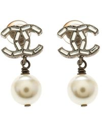 Chanel - Cc Crystal Faux Pearl Gold Tone Drop Earrings - Lyst