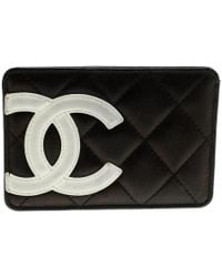 5b6d362e6cc22d Chanel - Black Quilted Cambon Ligne Leather Card Holder - Lyst