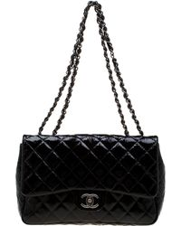 47c442daba47 Chanel - Black Quilted Patent Leather Jumbo Classic Single Flap Bag - Lyst