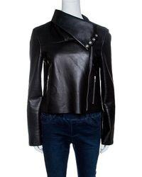 Céline - Lamb Leather Funnel Neck Detail Biker Jacket M - Lyst