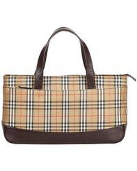 3430b314efdb Burberry - Beige Brown Plaid Nylon Everyday Bag - Lyst