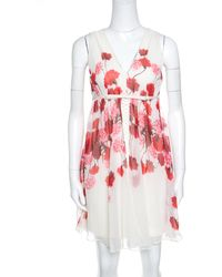 ec52b3ab0e7ad Giambattista Valli - Giambattista Off White Floral Printed Silk Lace  Underlay Sleeveless Dress S - Lyst