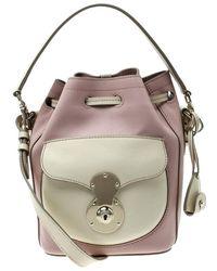 Ralph Lauren - Blush Pink/off White Leather Ricky Drawstring Bucket Bag - Lyst