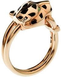 Cartier - Panthere De Diamond Lacquer Garnet 18k Yellow Gold Ring Size 55 - Lyst