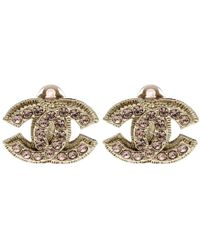 Chanel - Cc Crystal Gold Tone Clip-on Stud Earrings - Lyst