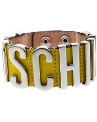 Moschino Silver Tone Logo Plaque Yellow Leather Cuff Bracelet