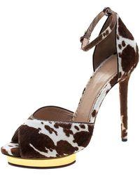 4d7ce62d7 Charlotte Olympia - Brown Calf Hair Savannah Peep Toe Ankle Strap Platform  Sandals Size 36.5 -