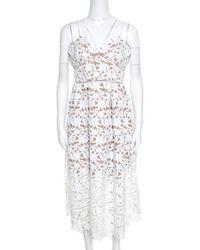 b57b81052dc Self-Portrait - Floral Guipure Lace Noodle Strap Azaelea Midi Dress M - Lyst