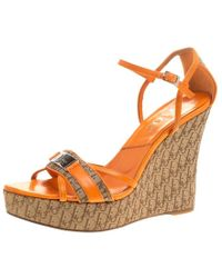 Dior - Leather And Canvas Issimo Wedge Sandals - Lyst