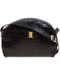 Ferragamo - Croc Embossed Leather Crossbody Bag - Lyst