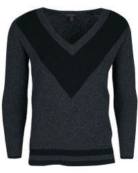 Louis Vuitton - Dark Wool And Cashmere Long Sleeve V Neck Sweater Xs - Lyst
