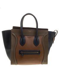 Céline - Tri Colour Leather Mini Luggage Tote - Lyst