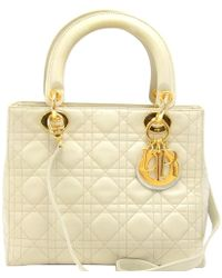 29306b5be224 Dior - Off-white Cannage Quilted Leather Medium Lady Tote - Lyst