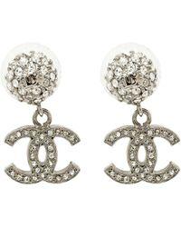 Chanel - Cc Crystal Studded Tone Drop Earrings - Lyst