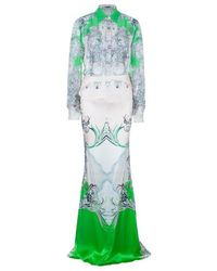 Roberto Cavalli - Abstract Silk Chiffon Top And Skirt Set M/s - Lyst