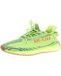Yeezy - X Adidas Semi Frozen Yellow Cotton Knit Boost 350 V2 Zebra Trainers Size 45.5 - Lyst