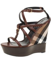 802b8cdb200b Vestiaire Collective · Burberry - Brown Leather Platform Ankle Strap Wedge  Sandals Size 40 - Lyst