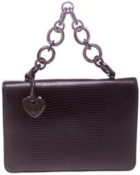 Moschino - Lizard Embossed Leather Top Handle Bag - Lyst