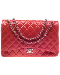 98da2f95e927 Chanel - Pink Quilted Patent Leather Maxi Classic Double Flap Bag - Lyst