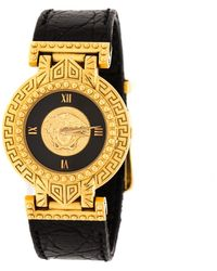 Versace - Gianni Signature Medusa Gold Plated Leather Women's Wristwatch 30mm - Lyst