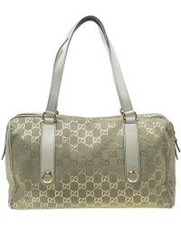 Gucci - /off White GG Suede Boston Bag - Lyst