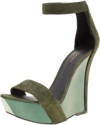 Balmain - Suede Samara Ankle Straps Wedge Sandals - Lyst
