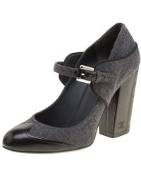 Chanel - /black Wool Blend And Leather Cap Toe Mary Jane Block Heel Pumps - Lyst