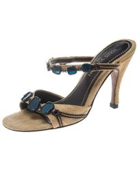 Louis Vuitton - Embellished Canvas Slide Sandals - Lyst