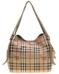 1d5847cd7b30 Burberry - Beige Haymarket Check Coated Canvas And Leather Small Canterbury  Tote - Lyst
