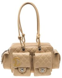 c96af13069c6a1 Chanel Quilted Leather Ligne Cambon Reporter Bag in Brown - Lyst