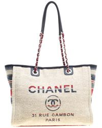 Chanel - Multicolor Canvas Deauville Shopper Tote - Lyst