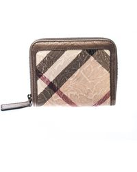 Burberry - Bronze Floral Embossed Nova Check Pvc And Leather Zip Around Compact Wallet - Lyst