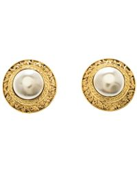 Chanel - Cc Vintage Textured Faux Pearl Plated Clip-on Stud Earrings - Lyst