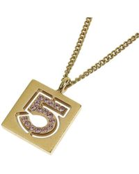 Chanel - 5 Rhinestone Tone Pendant Necklace - Lyst