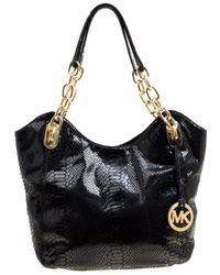 093ab5fccc737 MICHAEL Michael Kors - Python Embossed Leather Medium Lilly Chain Tote -  Lyst